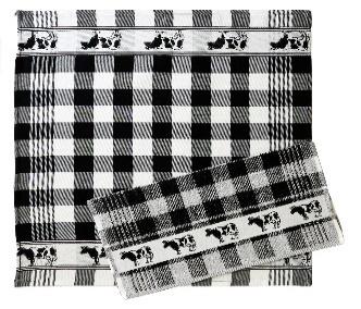 Tea Towel Set Cow Black (Koe Swart)